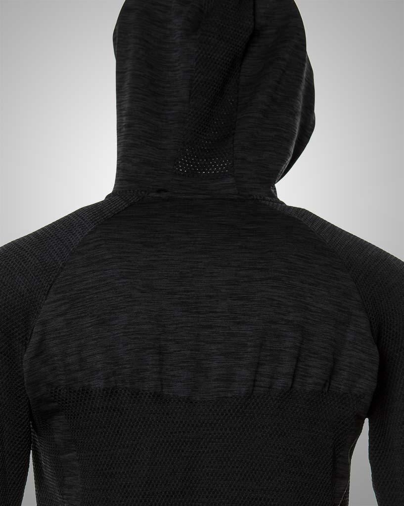 mens black longsleeved hoodie by THRONE