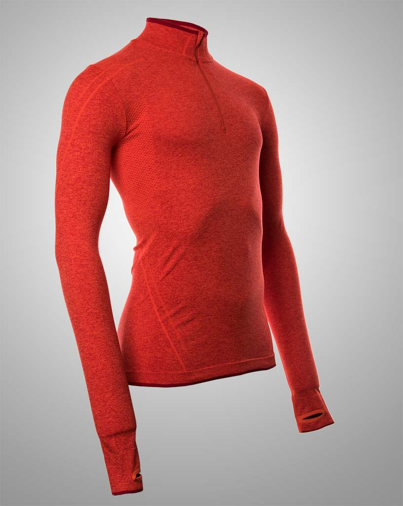 Long sleeved orange mens technical sweater