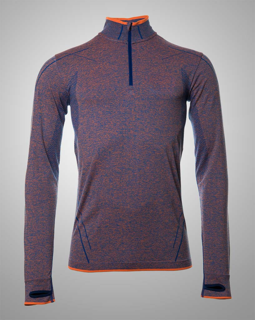 mens purple and blue with orange lining, seamless long sleeved by THRONE